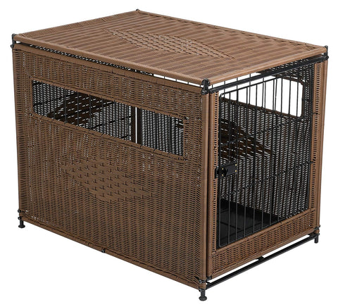 Solvit PetSafe Mr. Herzher's Indoor Pet Home, Dark Brown Wicker Crate for Dogs