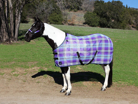 Kensington Platinum SureFit Protective Fly Sheet For Horses — SureFIt Cut With Snap Front Chest Closure — Made of Grooming Mesh This Sheet