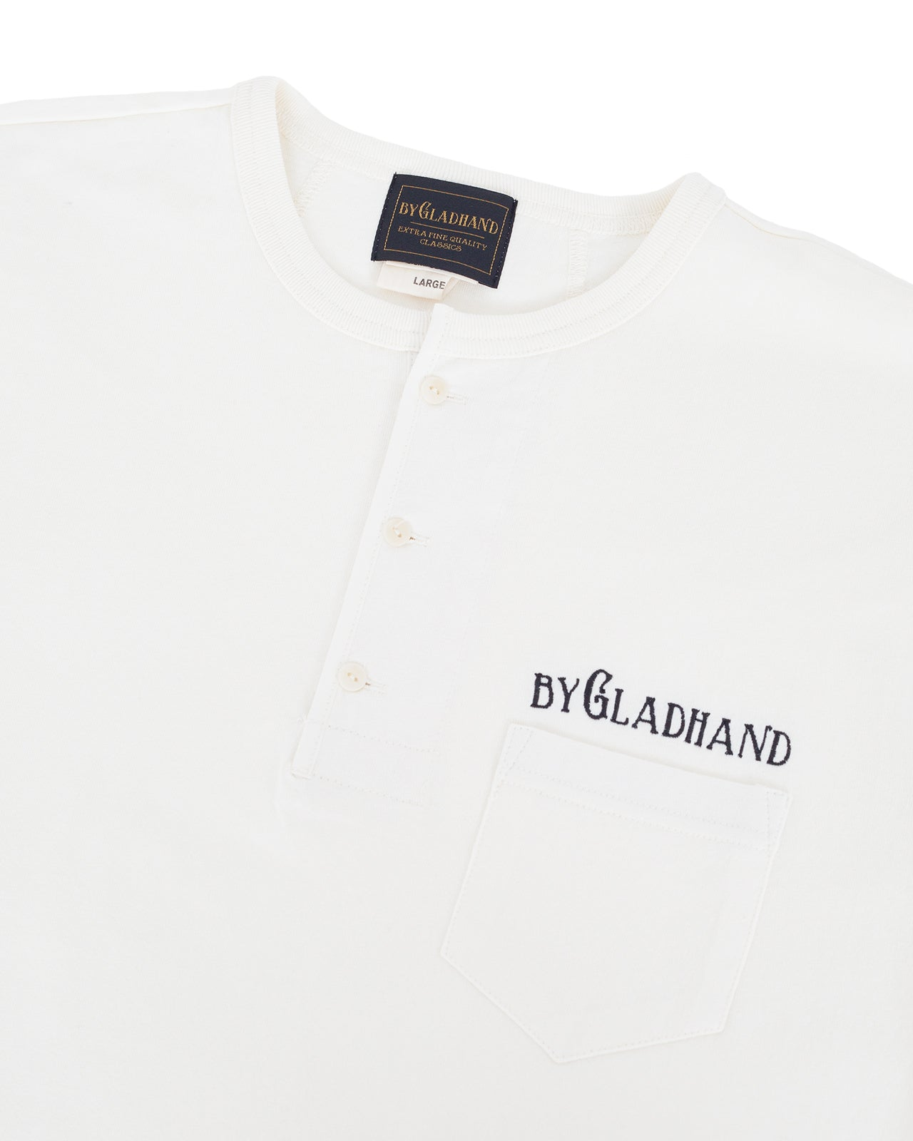 By Glad Hand, Trademark Henley Shirt, White