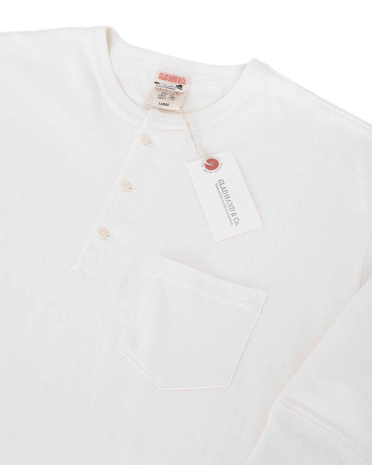 Glad Hand Henley Pocket T-Shirt, White