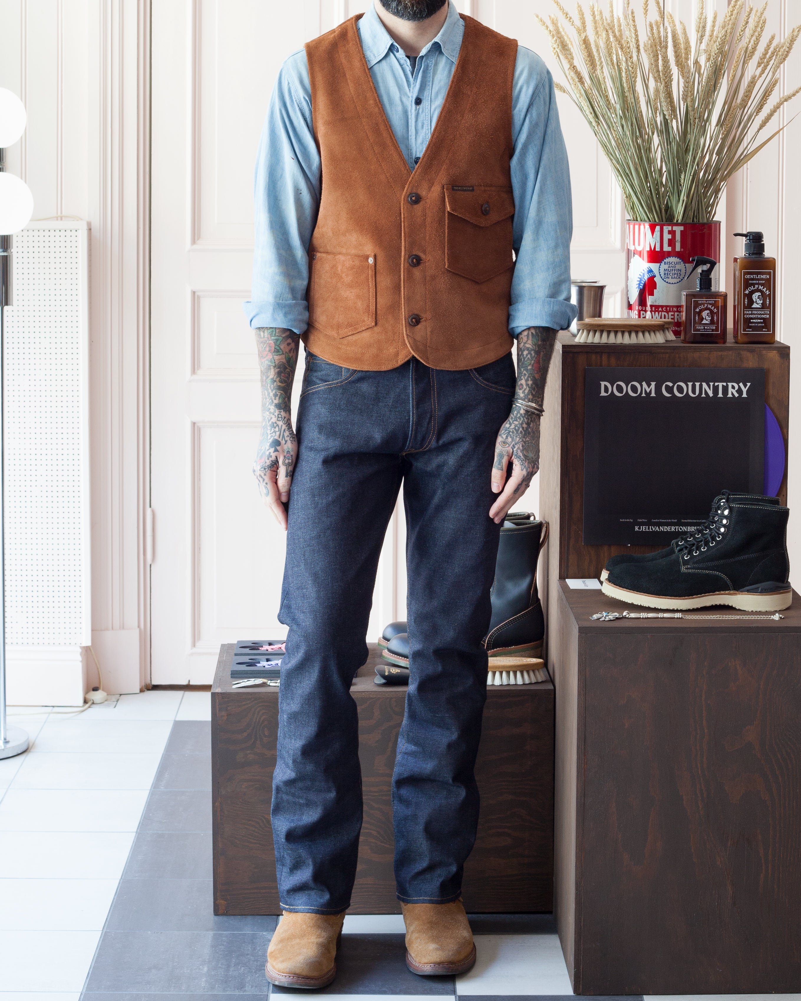 Indigofera Harrison Vest, Rough Out Leather
