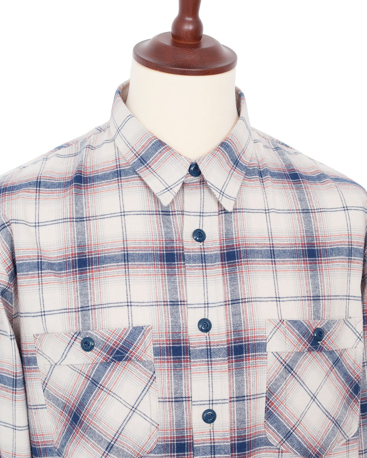 Indigofera Holden Shirt, Check Flannel, White/Blue/Red