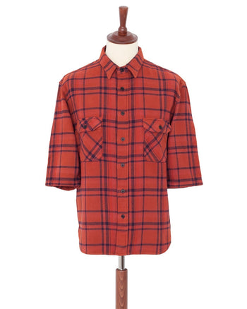 Indigofera Delray Shirt, Flannel Check, Red Overdye