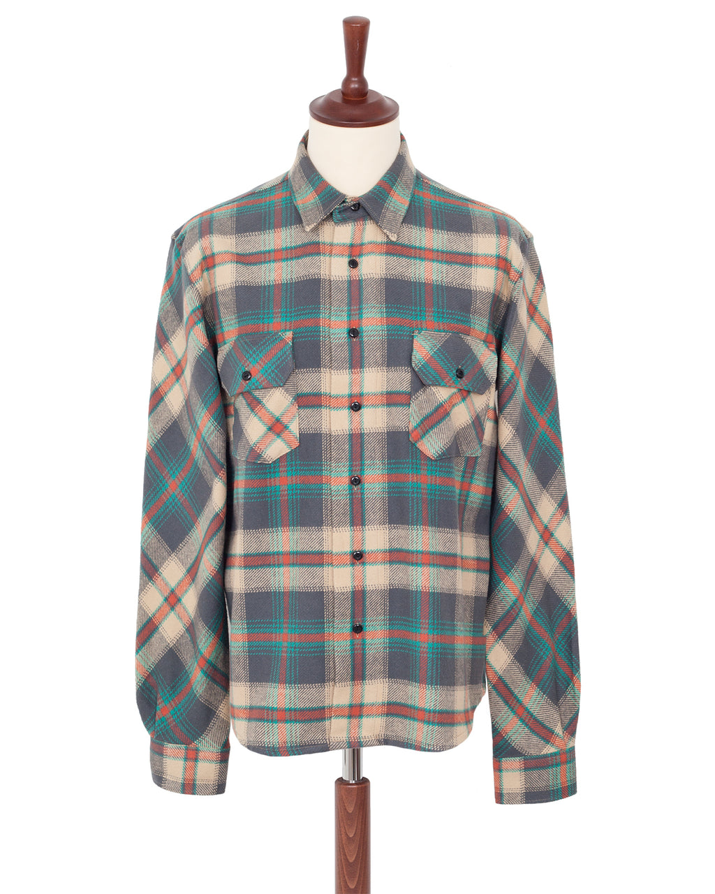 Indigofera Bryson Shirt, Check Flannel, Grey/Beige/Petrol/Red