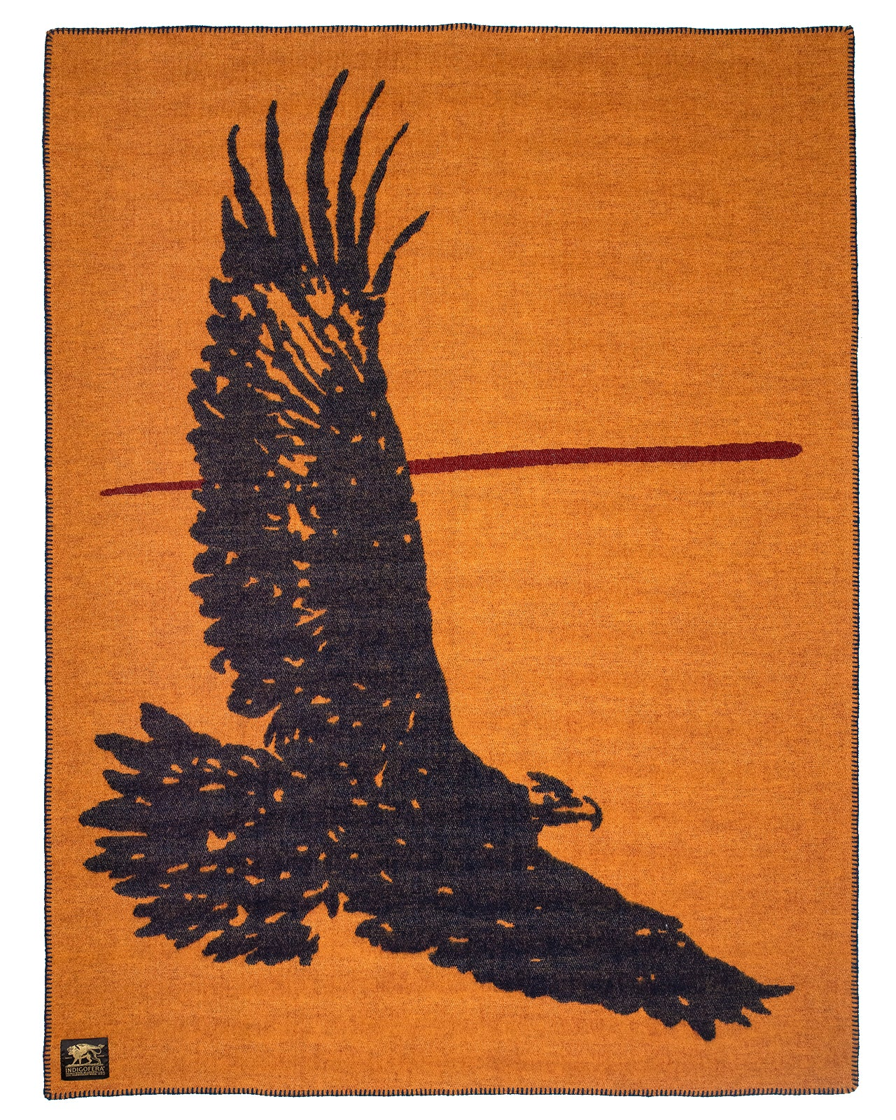 Indigofera Wool Blanket, Eagle, Orange