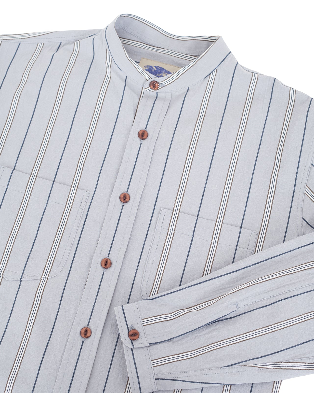 Indigofera Muir Shirt, Cotton Stripe, Grey / White / Navy