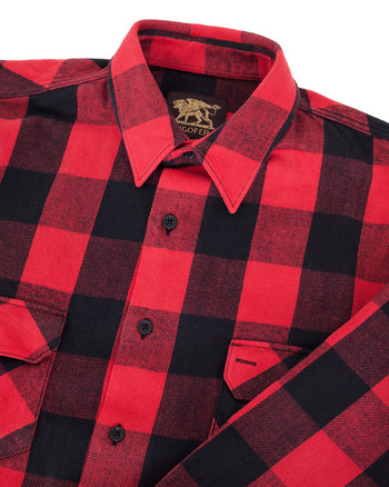Indigofera Norris Shirt, Check Flannel, Red / Black