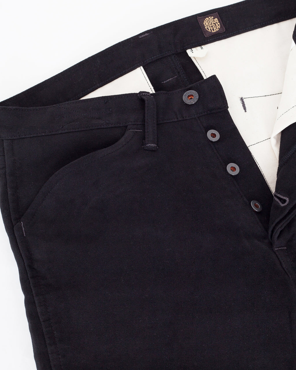 Indigofera x Israel Nash, Suffolk Pants, Black Moleskin