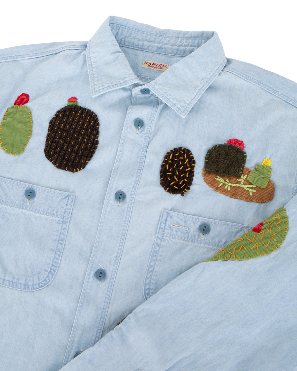 Kapital Chambray Work Shirt, Cactus Embroidery