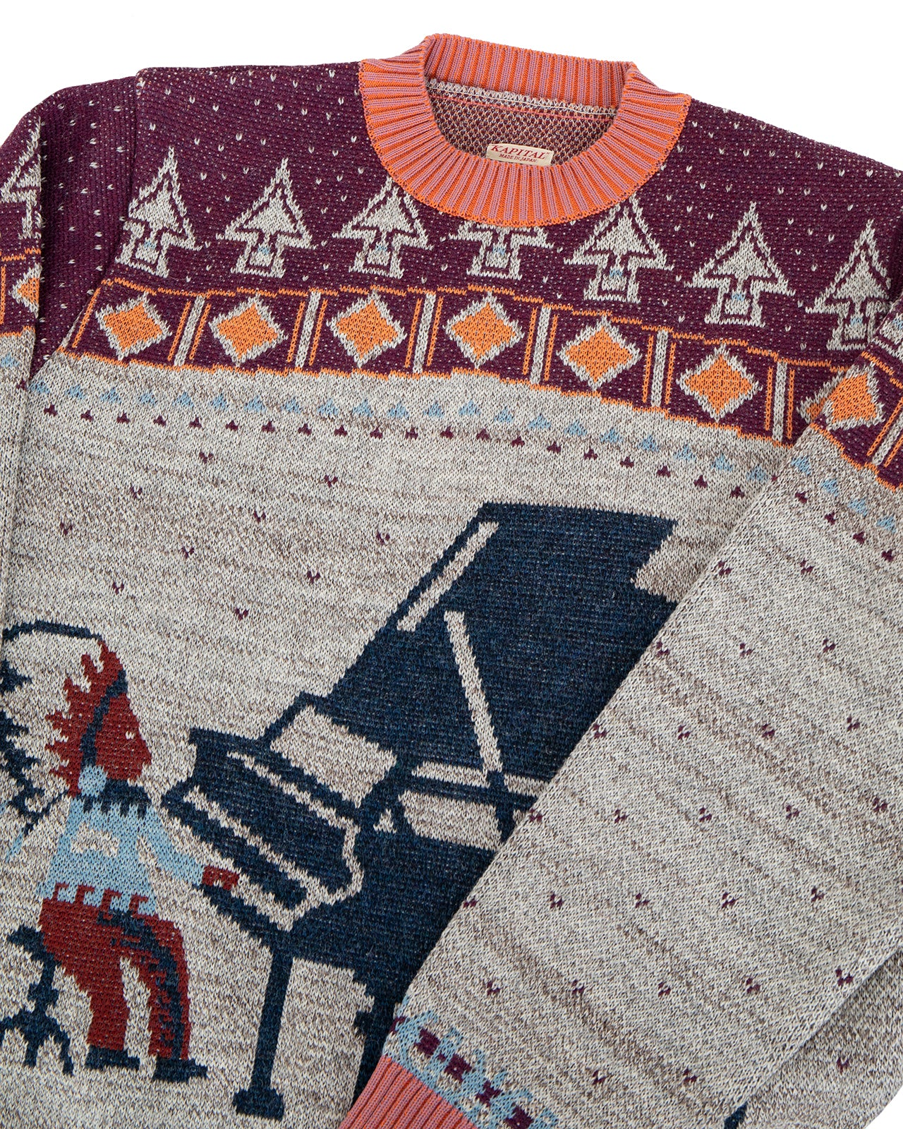 Kapital 7G Knit Alaska Camp Piano Crew Sweater