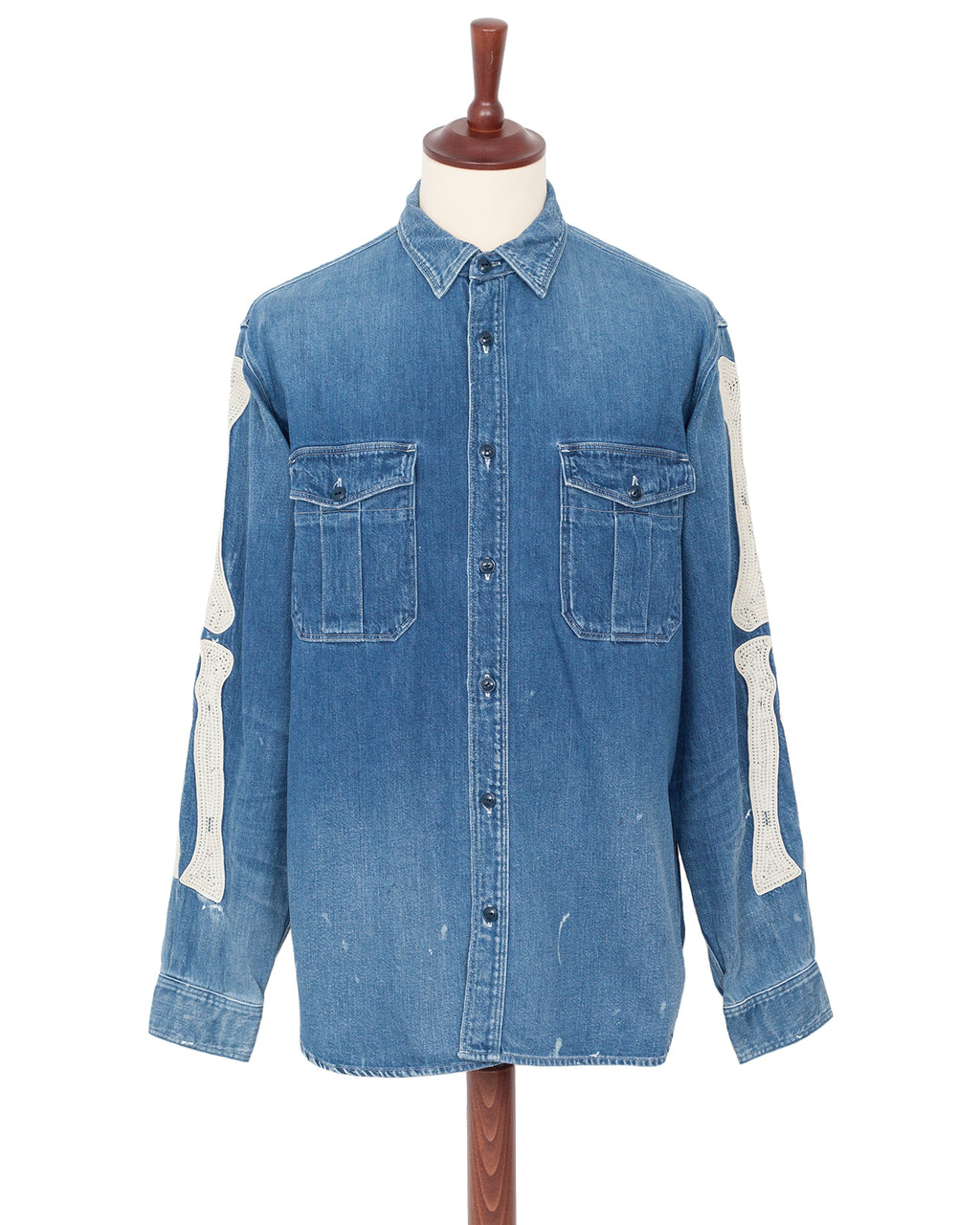 Kapital 8oz Denim Work Shirt, Bone Embroidery