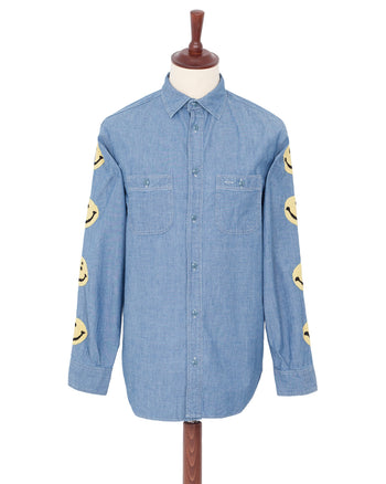 Kapital Chambray Work Shirt, Smile Embroidery