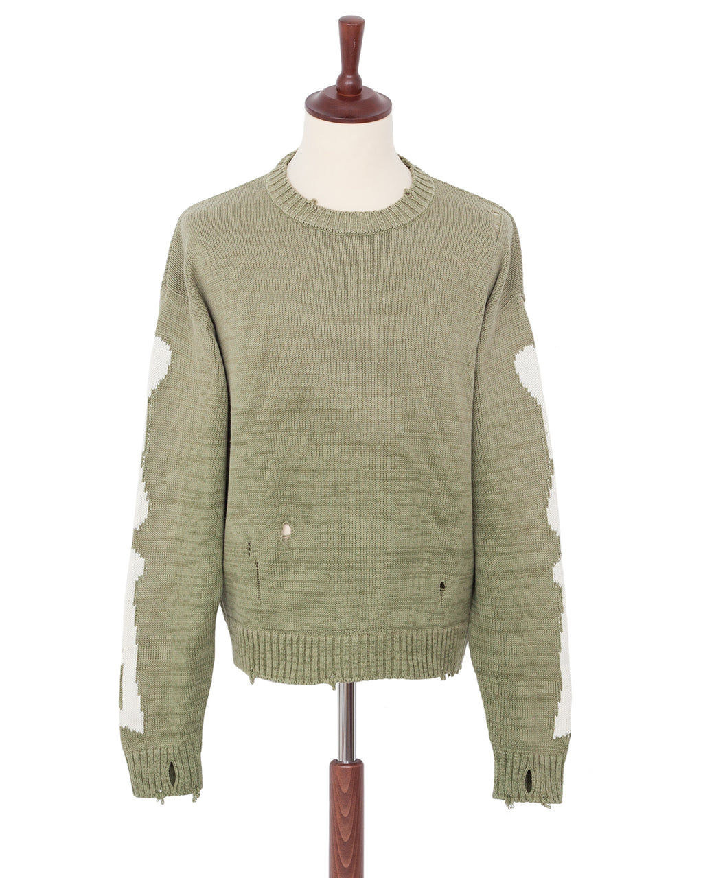 Kapital 5G Cotton Knit Bone Crew Sweater