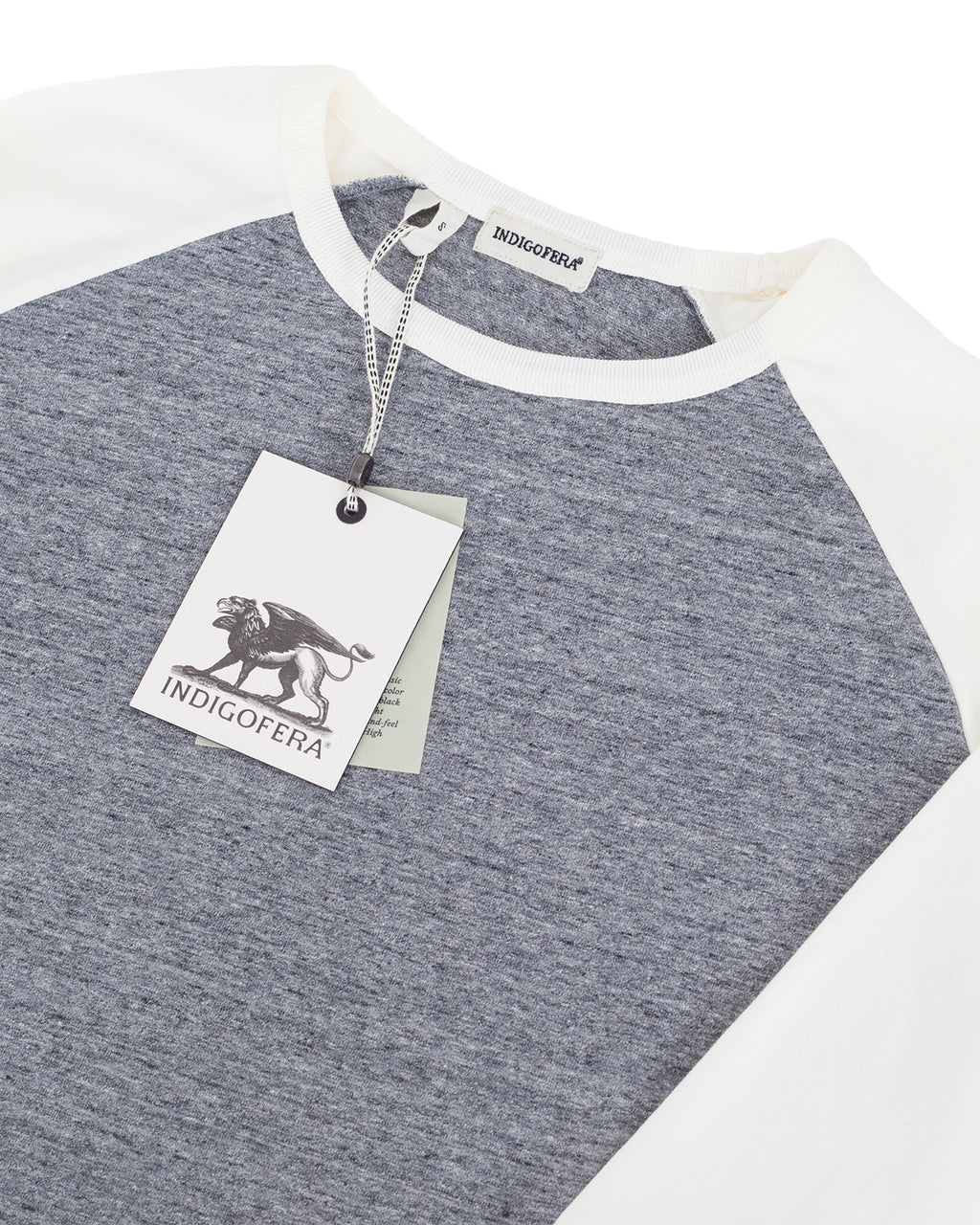 Indigofera Leon Raglan Sweater, Grey Melange / Cocatoo White