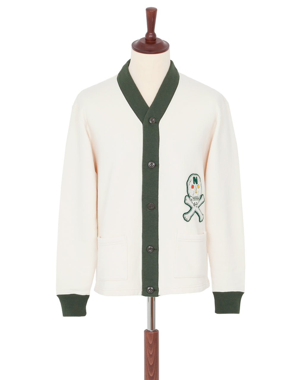 North No Name Skull Cardigan, White