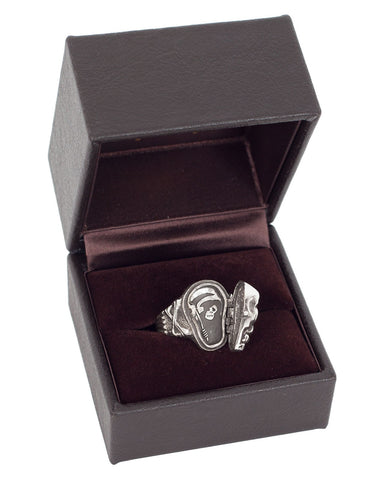 Peanuts & Co Skull Poison Ring, Silver / Green Zirconia