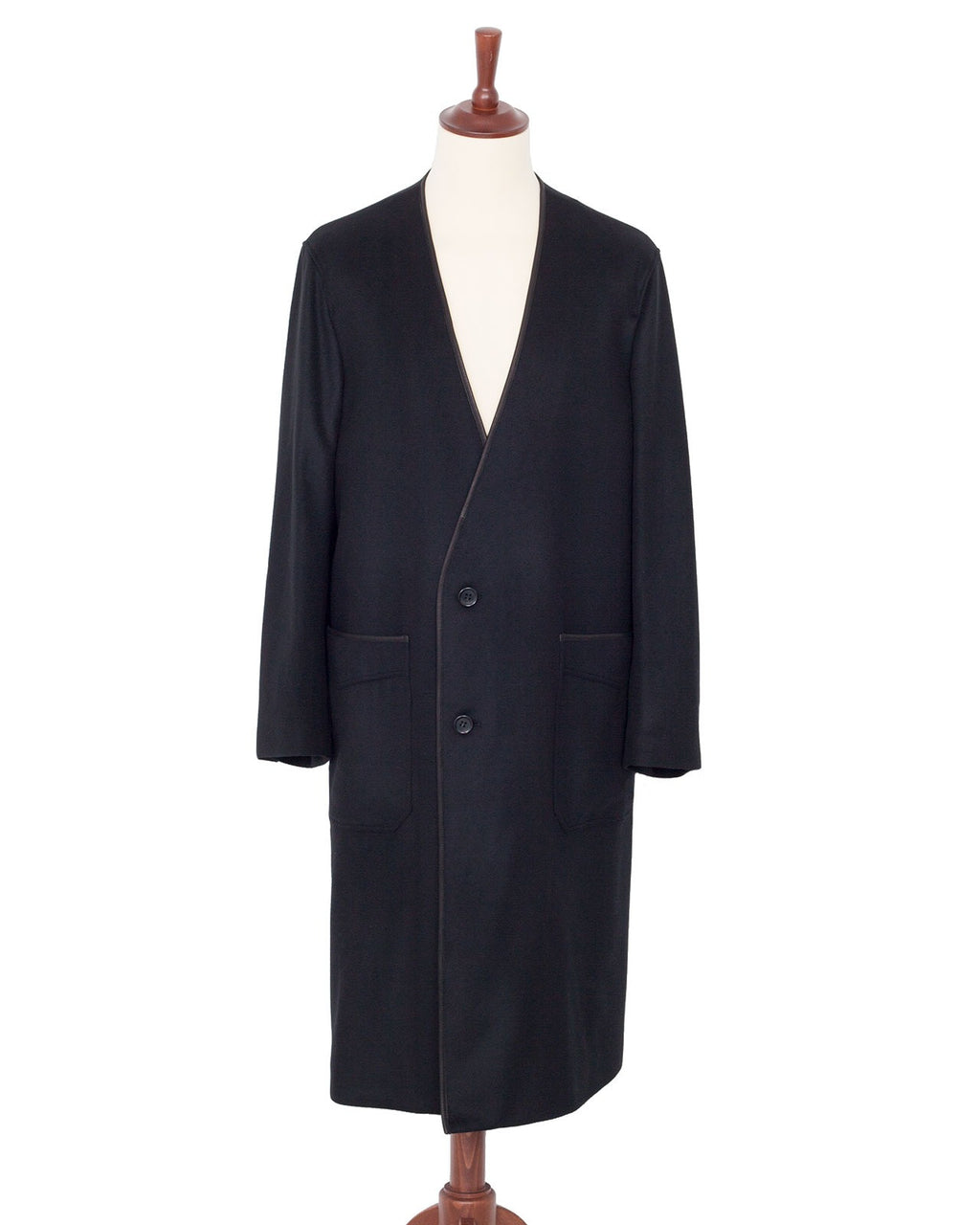 The Letters Collarless Piping Coat, Wool, Black