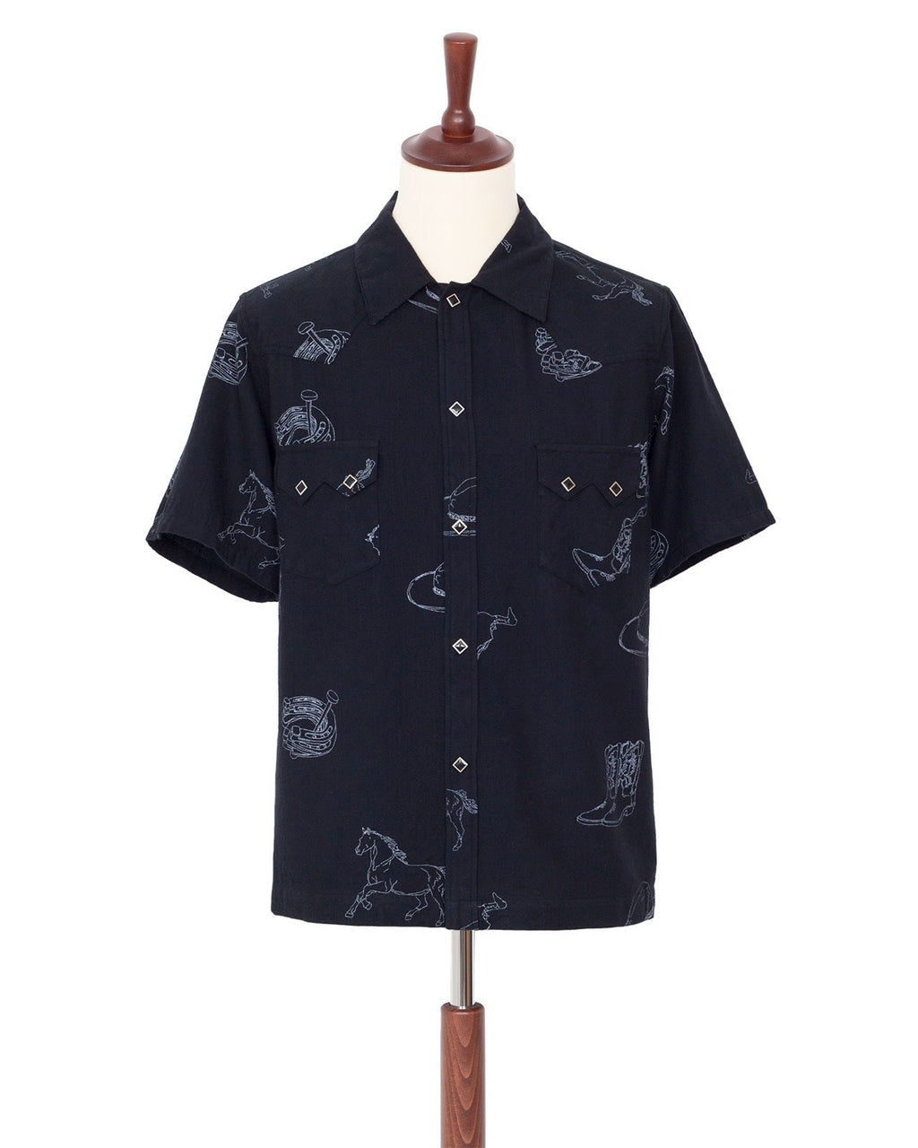 The Letters Short Sleeve Shirt, Western Pattern, Black
