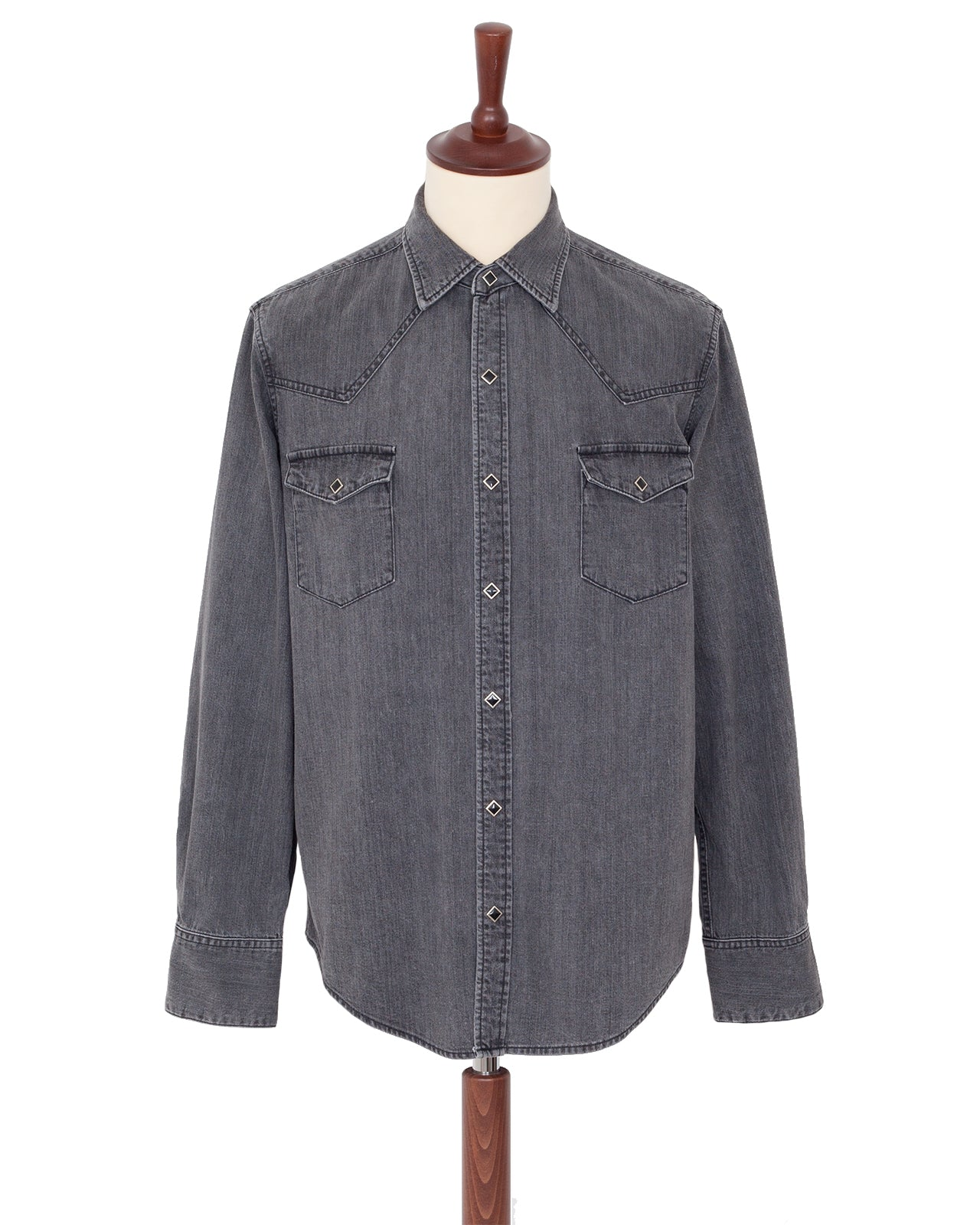 The Letters Western Shirt, Used Washed Denim, Grey