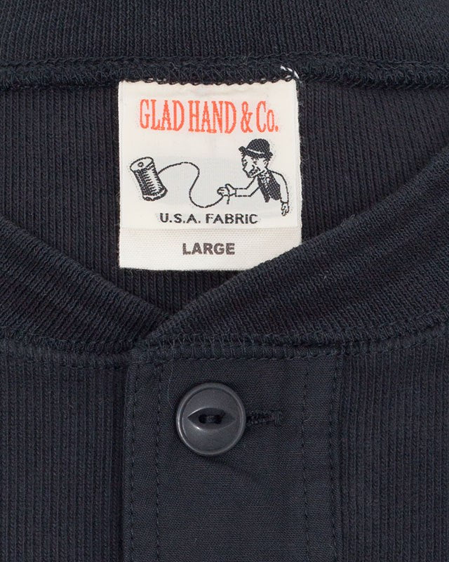 Glad Hand Thick Henley Long Sleeve, Black