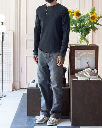 Indigofera Hank Long Sleeve Henley, Marshall Black