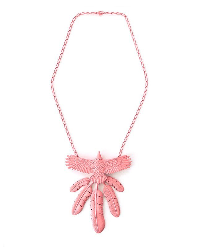 Kapital Tin Lacquer Eagle Necklace, Pink