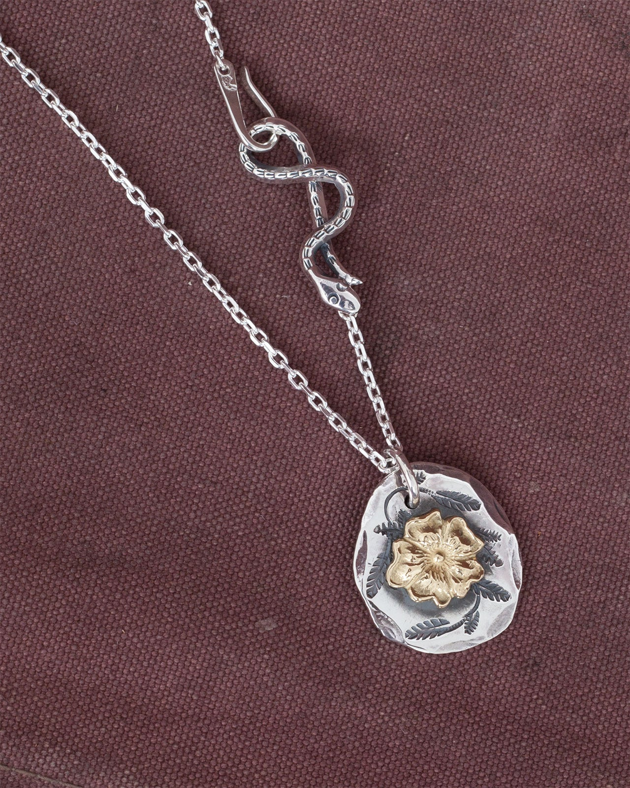 Larry Smith Large Medallion Necklace Combination, 18K Rose / Snake