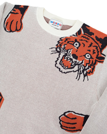 Weirdo Knit Sweater, Ringing Tiger, Ivory