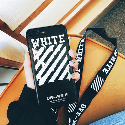 Off Twill Lanyard Soft Black Tpu Phone Case for IPhone X XR XS Max 8 7 6 6S Plus White Back Cover Offwhite