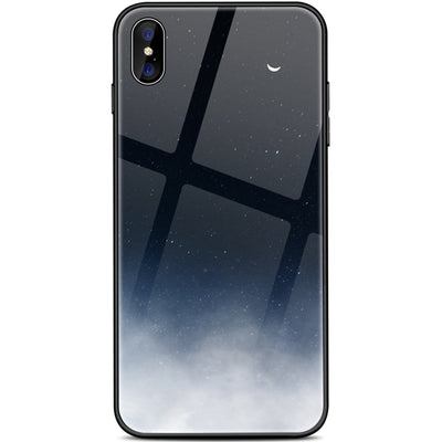 Tempered Glass Space Phone Case For iPhone XS Max XR X 8 7 6 6s Plus Soft TPU Edge Case 8plus Starry Moon Cover Coque