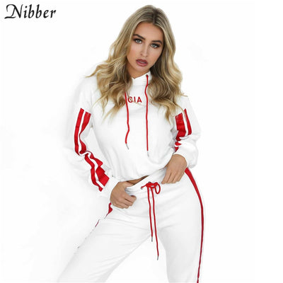 Sportswear 2 piece set women White Red Active Wear Casual Sweat Pants