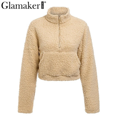 Glamaker Long sleeve soft crop faux fur Women summer fashion