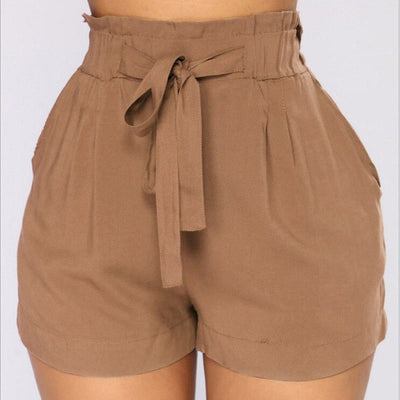 Womens High waist Shorts Elastic Waist Belt Bandage Solid Shorts