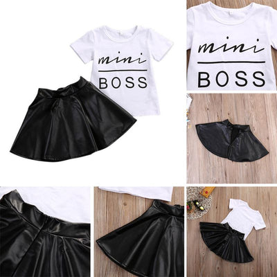 2PCS Toddler Kids Girl Clothes Set Summer Short Sleeve Mini Boss T-shirt Tops + Leather Skirt Outfit