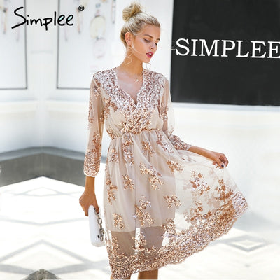 Simplee V neck long sleeve sequined party dresses women