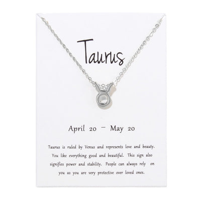 Birthday Gifts 12 Constellation Zodiac Pendant Necklace With White Card