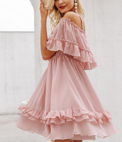 Off Shoulder Strap Chiffon Summer Dresses Women Ruffle Pleated Short Dress