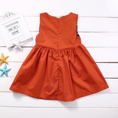 1-5Y Casual Baby Girls Clothes Cute Toddler Kids Fox Dress Summer Sleeveless Party Dress Children Cotton Clothing