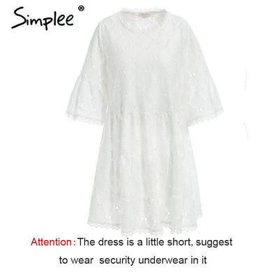 Simplee Flare sleeve cotton white lace dress Women casual ladies dress