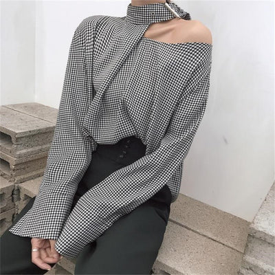 Women Plaid Shirts  Blouse Long Sleeve