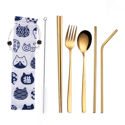 Stainless Steel Dinnerware Set Spoon Fork Chopsticks Straw With Cloth Pack Cutlery