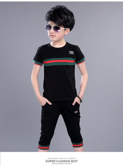 Casual Active Boys Clothes Set Summer Girls Teenage T Shirt Shorts Children Suit
