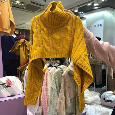 Yellow Short Sweaters Knitted Turtleneck Pullover