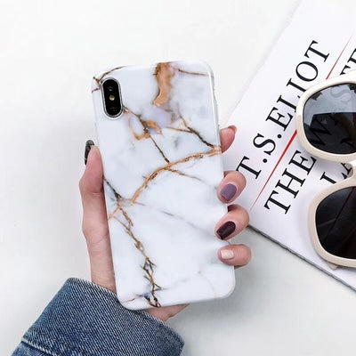 Luxury Marble Case For iPhone 7 Case Soft Silicone Back Cover For iPhone 6 6S 7 Plus 8 Plus  Case Cover