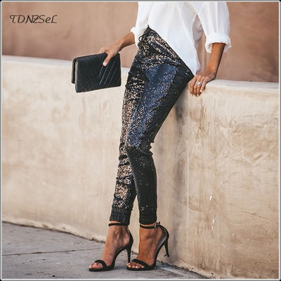 Sexy Sequin Mid Waist Pencil Pants For Women