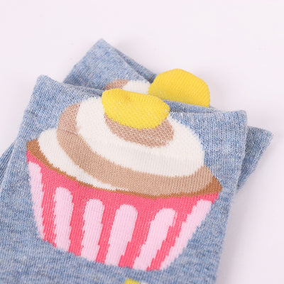 5 pairs Women cotton socks cupcake Short Ankle Socks