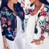 Women Jackets Flower Floral Print Retro Ladies Zipper Up