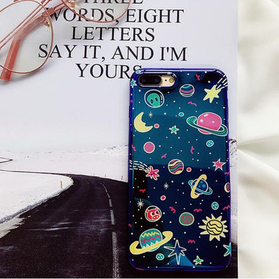 Universe Phone Case For iPhone XS XR XS Max X 8 7 6 6S Plus Blu-Ray Phone Back Cover Cute Planet Moon Star Cases Gift