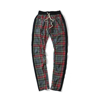 Hip-hop colorblock scottish style Pants for Men