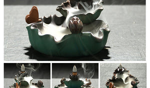 Creative LED Butterfly Lotus Incense  Backflow Censer Ceramic